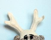 Sockelope - sock monkey antlers, deer antlers, plush, stuffed animal