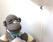 Sock Monkey Plush - Handmade stuffed toy, Children's Toy, Stuffed Animal, Gray, Yellow, White