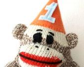 Sock Monkey Cake Topper - Sock Monkey Birthday Party, custom kids birthday, Gift topper