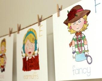 Alphabet Wall Cards, Blonde Girl - Back to School, Children's Room Artwork, Nursery Artwork