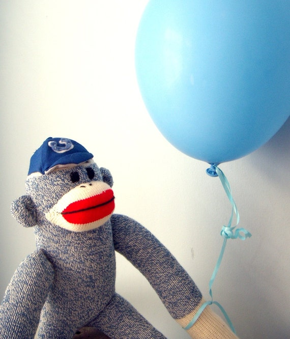 Sock Monkey with Team Hat - Personalized