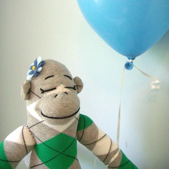 Stuffed Sock Monkey,  Plush doll,  handmade, Girl, Children's Toy, Stuffed Animal, Grey, Green