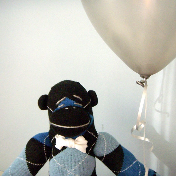 Argyle Sock Monkey Plush - Children's Toy, Stuffed Animal, Bow tie, Black, Blue