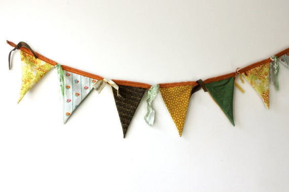 Fabric Bunting - Autumn Wedding, Fall Wedding, Banner, Reversible, Autumn Home Decor, Party Decoration, Vintage fabric