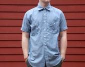 Vintage Short Sleeved Work Shirt Men's Large