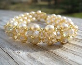 Champagne Love & Hugs bracelet -- pearls and crystals