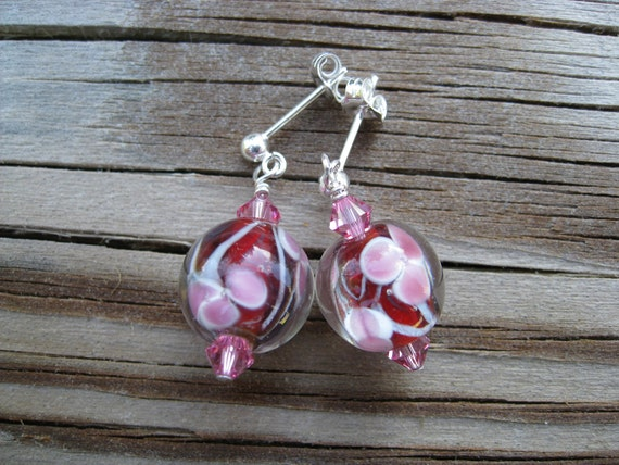 Red Rose earrings - red, pink flower, lampwork glass, sterling silver ear posts