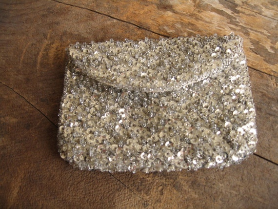 vintage 1920s sequined mini clutch
