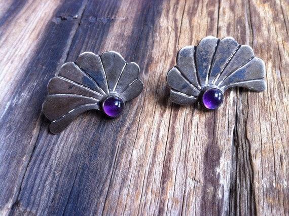 antique 30s sterling fan earrings / 1930s jewelry / Marie
