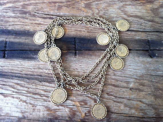vintage 70s gypsy coin necklace / 1970s jewelry / TSURA