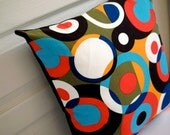 """Set of 2 Cushion cover 18""""x18"""" Colorful ART pillow cover x navy blue"""