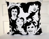 """Print on Both Sides Cushion cover 18""""x18"""" / black white decorative cover /  Pop art face"""