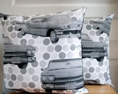 """Set of 2 modern decorative Cushion cover 18""""x18"""" / Invisible zipper / Vintage American Cars"""