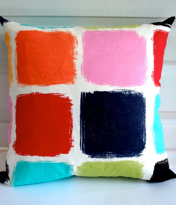 "Print on BOTH SIDES - Cushion covers 18""x18"" Vivid multi colors squares"