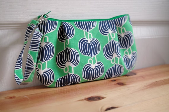 Zipped Wristlet - Designer fabric - chinese lantern - green blue