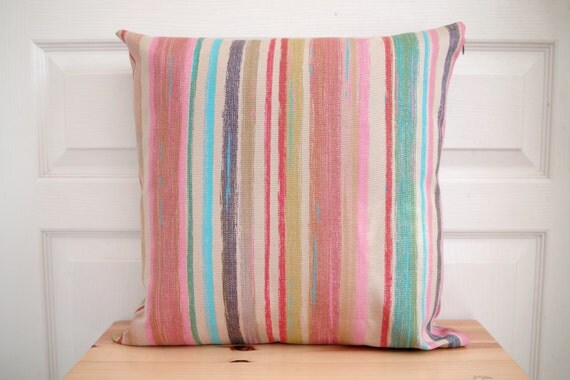 "Print on BOTH SIDES - Cushion cover 18""x18""  -  Art gallery Pink Stripes -  Modern decorative throw pillow"