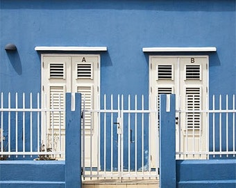 Front doors photograph, blue Caribbean house photo, travel photography, architecture wall art print