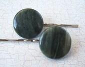 SHOP CLOSING SALE Green Line Jasper Hair Pins - Set of 2