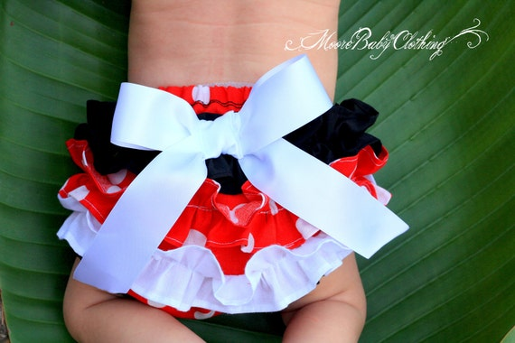 Disney Minnie Mouse, Fluffy Red White and Black Ruffles, Polka Dots, Satin Ribbon, Diaper Cover, Bloomers, Newborn to Toddlers,