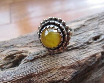 Round Milky Amber Ring