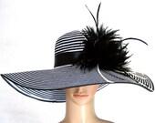 Derby Hat church hat dress hat church hat with feathers wide brim