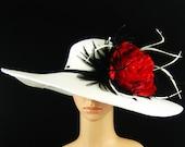 Derby Hat,WHITE Kentucky Derby Hat,Dress Hat, Wedding Hat, Wide Brim, Feathers