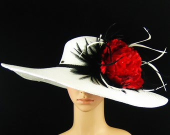 WHITE Kentucky Derby Hat,White Derby Hat with Red flower,Dress Hat, Wedding Hat, Wide Brim, Feathers