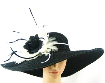 BLACK Kentucky Derby Hat with Black Rose and White Feathers,Derby Hat,Dress Hat Wedding Hat Wide Brim BLACK Hat Tea Party Hat Ascot