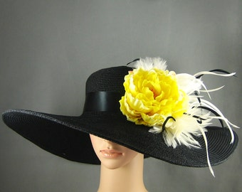 BLACK Kentucky Derby Hat,Fascinator, Preakness Belmont Del Mar Derby Hat Wide Brim Dress Hat  Bridal Wedding Hat Tea Party Hat Ascot