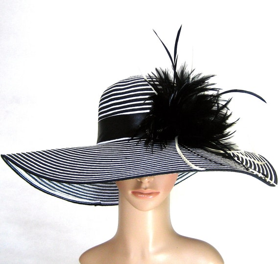 Derby Hat church hat dress hat church hat with feathers wide brim
