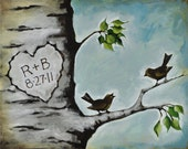 Personalized Painting -12 x 16 Inch Original Painting on Canvas - Gift for Husband - Anniversary Wedding