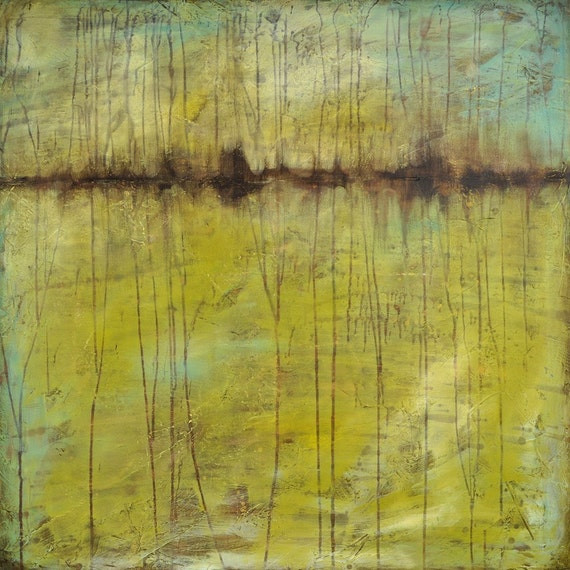 ARRIVES BY CHRISTMAS Green Lake - Huge Original Abstract Seascape - Painting on Canvas by Nancy Jean - 36 x 36 Inches