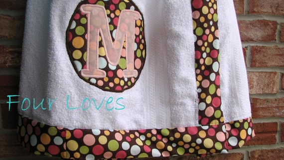 Adult and Child Spa Wraps...multicolored polka dot towel trimmed towel....by Four Loves