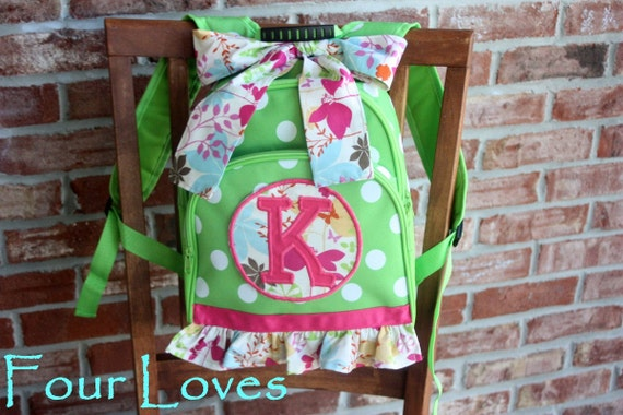 Girls Backpack, Personalized, green polka dot backpack with ruffle...Four Loves