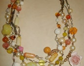 RESERVED FOR BOBANDBELLE Pretty in Pink 4 Strand Pastel Pink, White, and Yellow Necklace