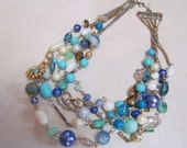 Azure 5 Strand Blue, Turquoise, and White Beaded Necklace