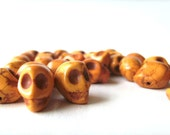 pumpkin pie orange howlite skull beads - 30 pieces - halloween or day of the dead beads - litbotanica destash