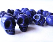violet blue howlite skulls beads - medium sized skulls - day of the dead - 22 count