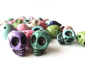 howlite medium skull beads - grab bag colors - various colored day of the dead beads - 27 count