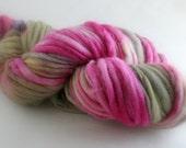 Hand dyed Yarn Thick Thin handspun hot pink DESERT DIVA bulky soft