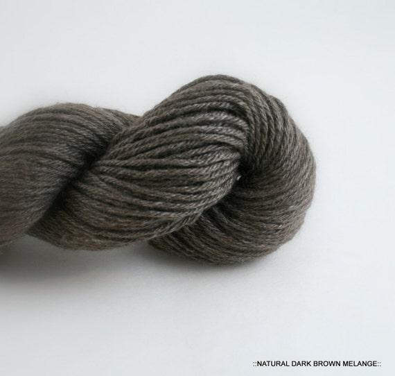 NATURAL dark brown MELANGE 75/25 Pure Yak Fiber/bamboo SKYE  4-ply soft luxurious