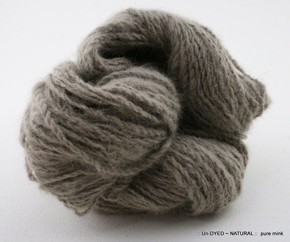 Pure Mink hand-spun CAMILLE 2-ply 120 yards natural taupe SFG swoon fibers gold coll.