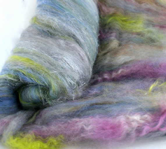 Art Batt for spinning felting WAYWARD 2.6 oz fiber blend BFL silk angelina kid mohair hand dyed
