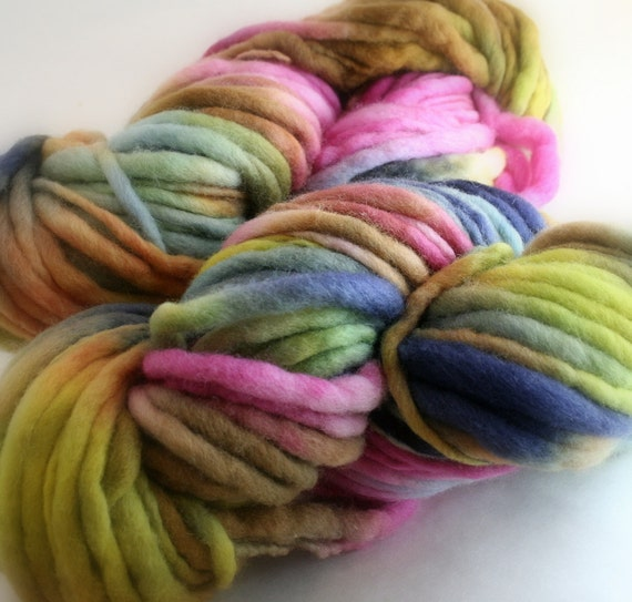 Thick and Thin Yarn hand dyed Merino Slub Thick Thin handspun  FLEUR bulky soft