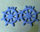 2 blue ship's helm steering wheel charms