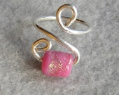 Pink & Gold Bead Wire Wrapped Ring