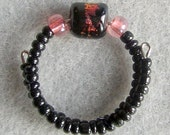 Black & Pink-Copper Dichroic Bead Ring