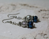 Steampunk Earrings, Steam Punk, Glass Beads and Metal Beads, Silver Tones, Free Shipping
