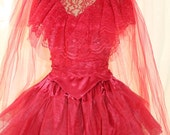Lydia Deetz Red Wedding Dress, BeetleJuice, Sz 6, Med, Tim Burton, Veil Included, Ready Made, Ready to Ship, Lydia Red Dress
