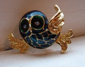 Lovely Blue Green Enamel Flying Owl Pin